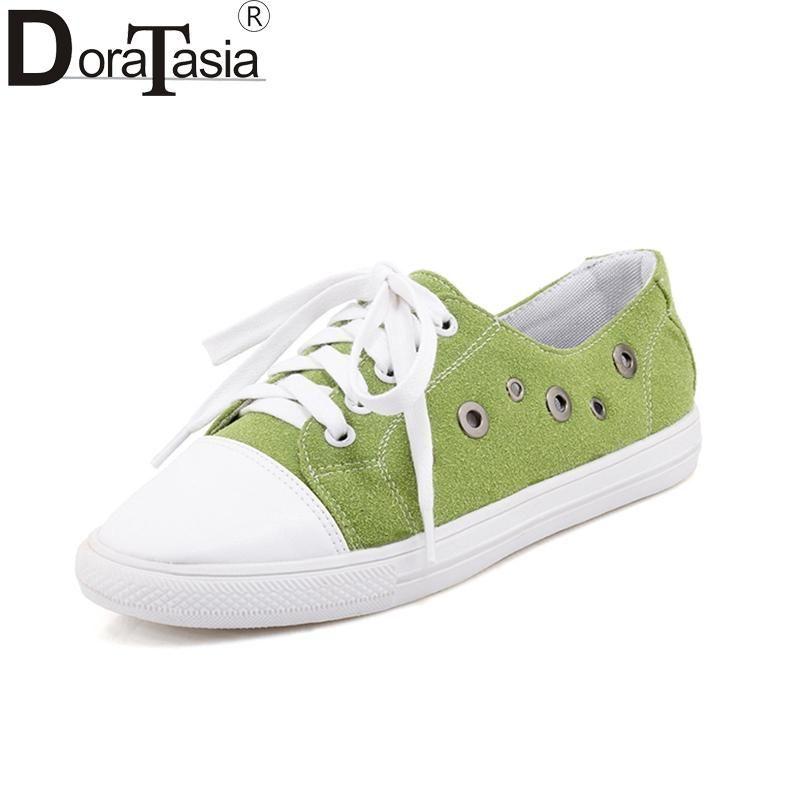 bdb60d2670b Doratasia 2018 Plus Size 29-46 Lace Up New Brand Wholesale Black Green Women  Shoes Woman Summer Vulcanize Sneaker Shoes Woman  womenshoessneakers