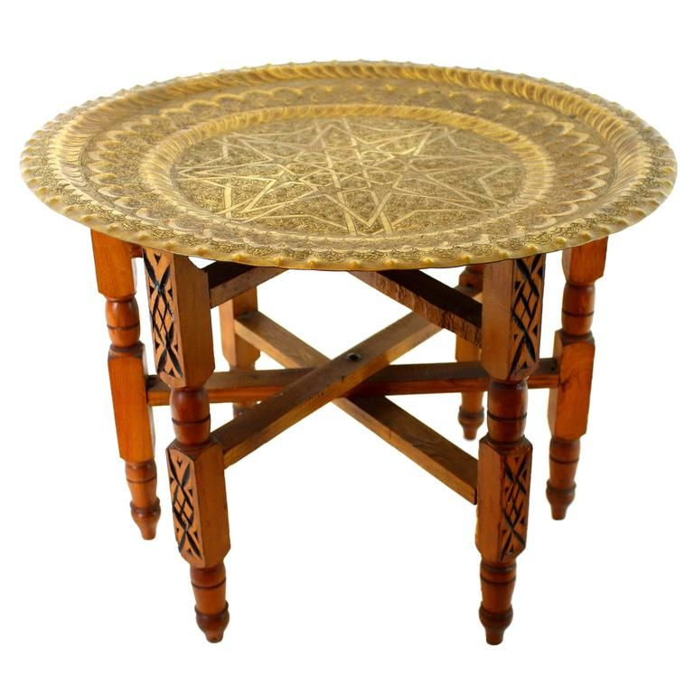 Traditional Moroccan Brass Tray Side Table With Wooden Folding