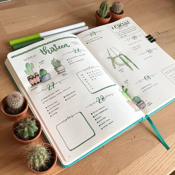 "Marlies � on Instagram: ""Tried a new weekly spread layout this week, with a cactus theme � I like how it turned out! Lots of space for drawing. The lay-out was…"""