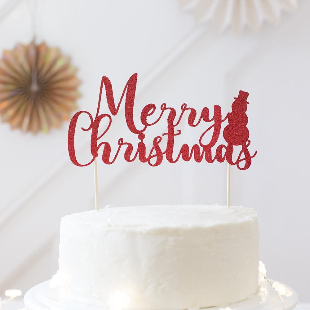 Merry Christmas cake topper - Red glitter with decorative snowman ...