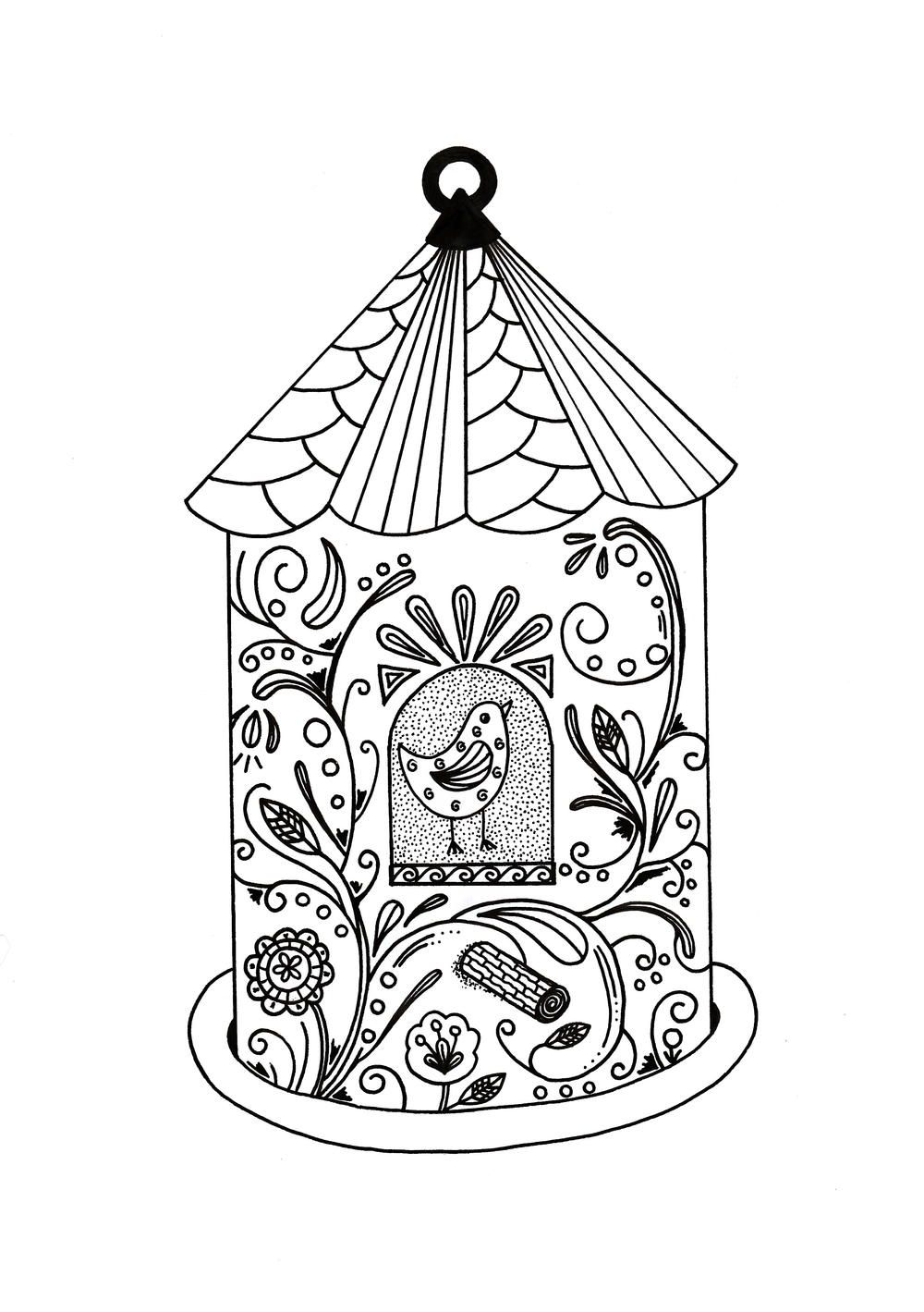 whimsical bird house adult coloring page pinterest bird houses Barn Swallow Bird House Plans it is spring time to celebrate nature in all its glory this whimsical bird