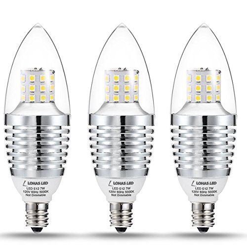 3 Pack Lohas Led Candelabra Bulbs 7w Crystal White Glow 5000k Led Lights 6570 Watt Light Bulbs Equivale Led Candelabra Bulbs Candelabra Bulbs Led Lighting Home