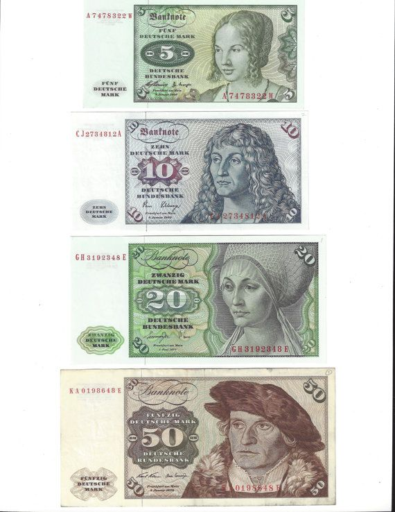 This is a set of four notes, all Deutsche Mark, from