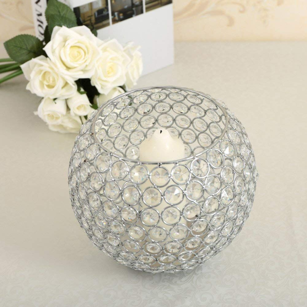 Silver Crystal Floor Vases//Bowl Candleholders//Candle Shade For Wedding Anniversa