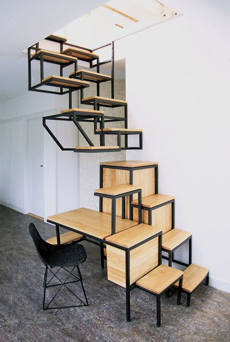 Innovative Suspended Stairs Double As All In One Workspace
