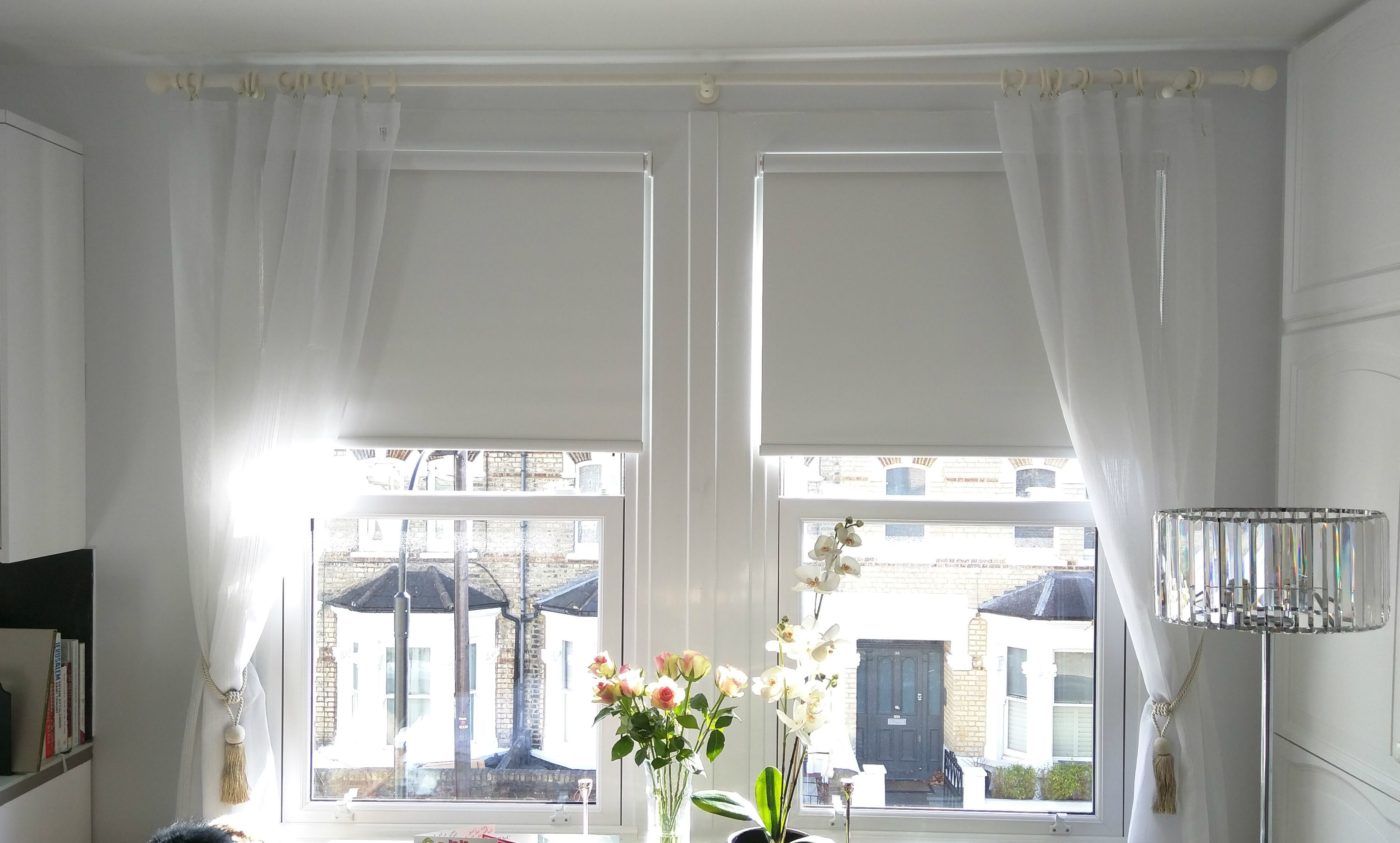 Blackout Roller Blinds Fitted To Windows With Existing Curtains In Fulham