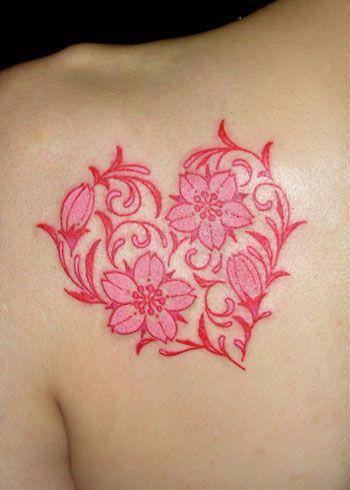 Cherry Blossoms Make A Heart Tattoo Back Flower Tattoo Designs Heart Tattoo Designs Girly Tattoos