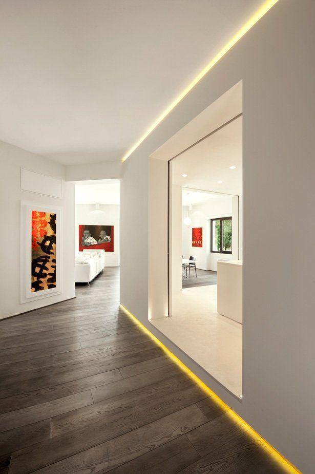Fesselnd Minimalistisch Wohnen Einrichtungsidee Für Luxus Wohnung In Weiß Und  Indirekte Flurbeleuchtung | Flur | Pinterest | Corridor