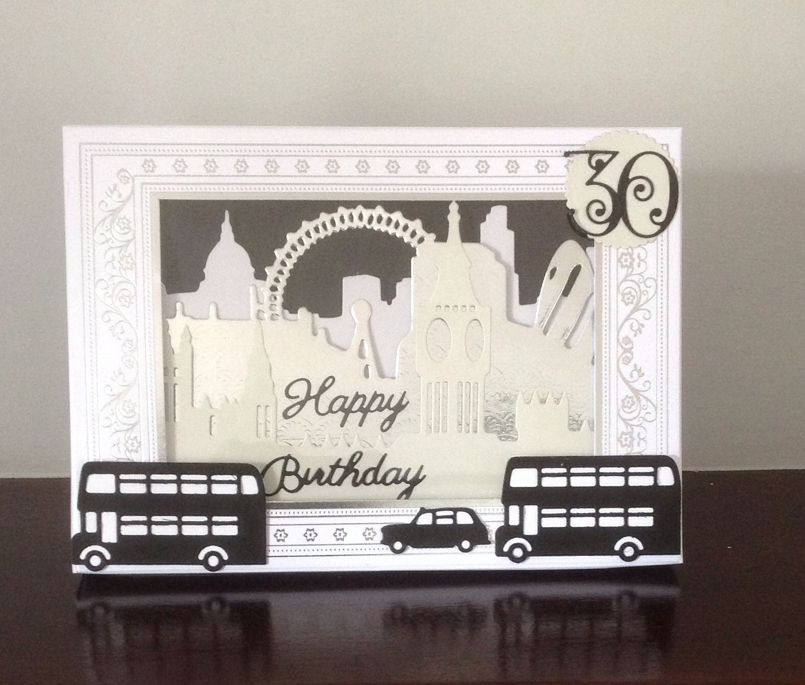 30th Birthday Shadow Box Card Based On Xcut Build A Scene London Dies Scene Cards Cards Shadow Box
