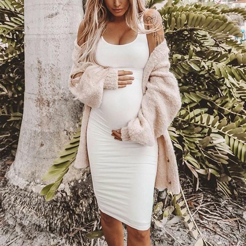 Must Have Solid Color Maternity Casual Bodycon Dress