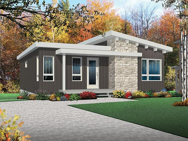 Contemporary cottage modern house plan 76436 4 bedroom house plansbasement
