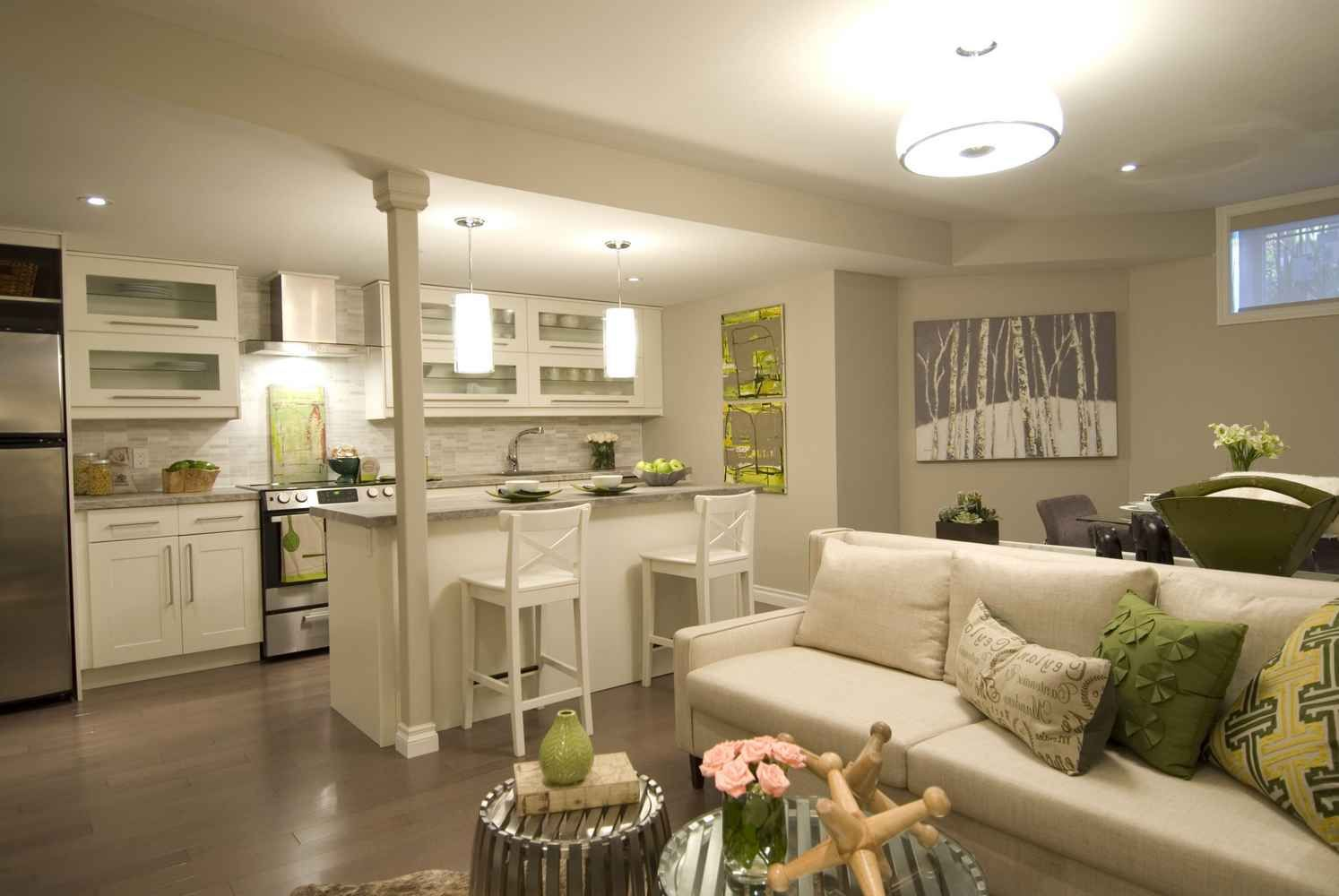 Image result for small open space kitchen living room ideas