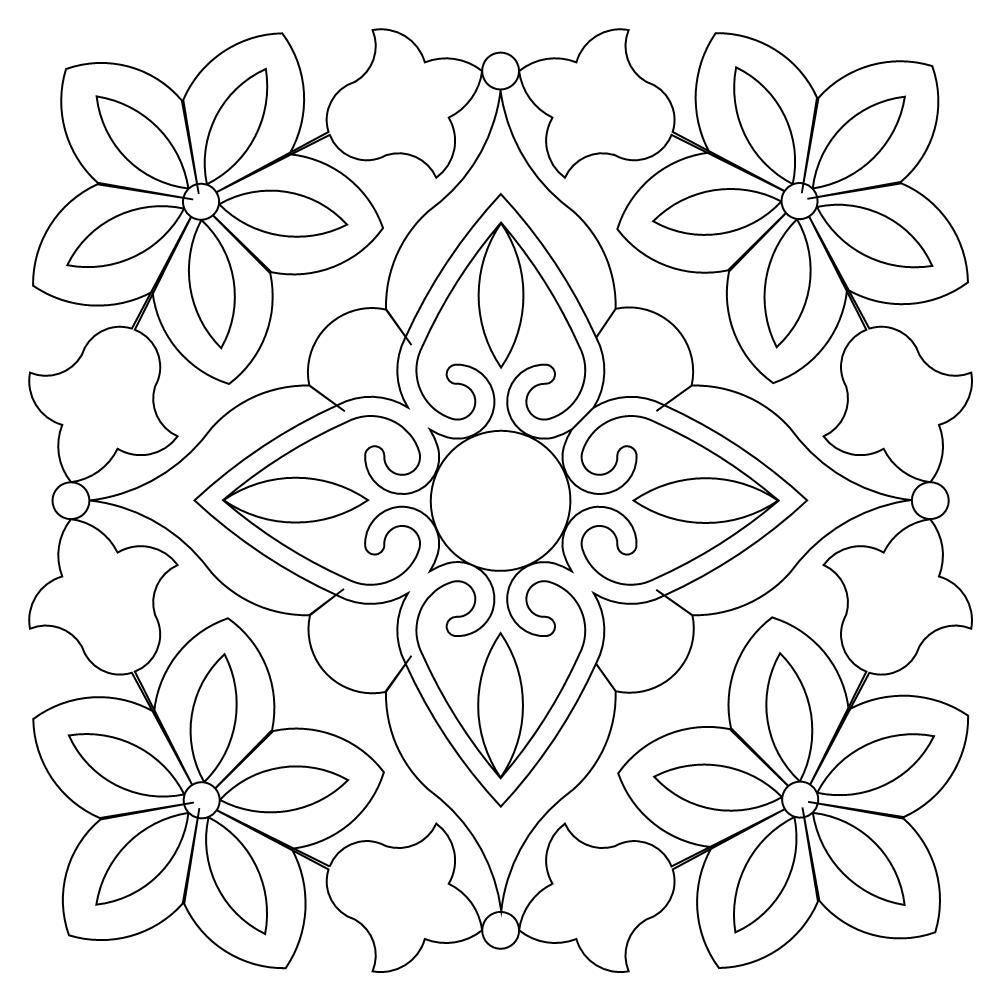 Bandana Block 001 Colorful Drawings Quilting Stencils Coloring Book Art