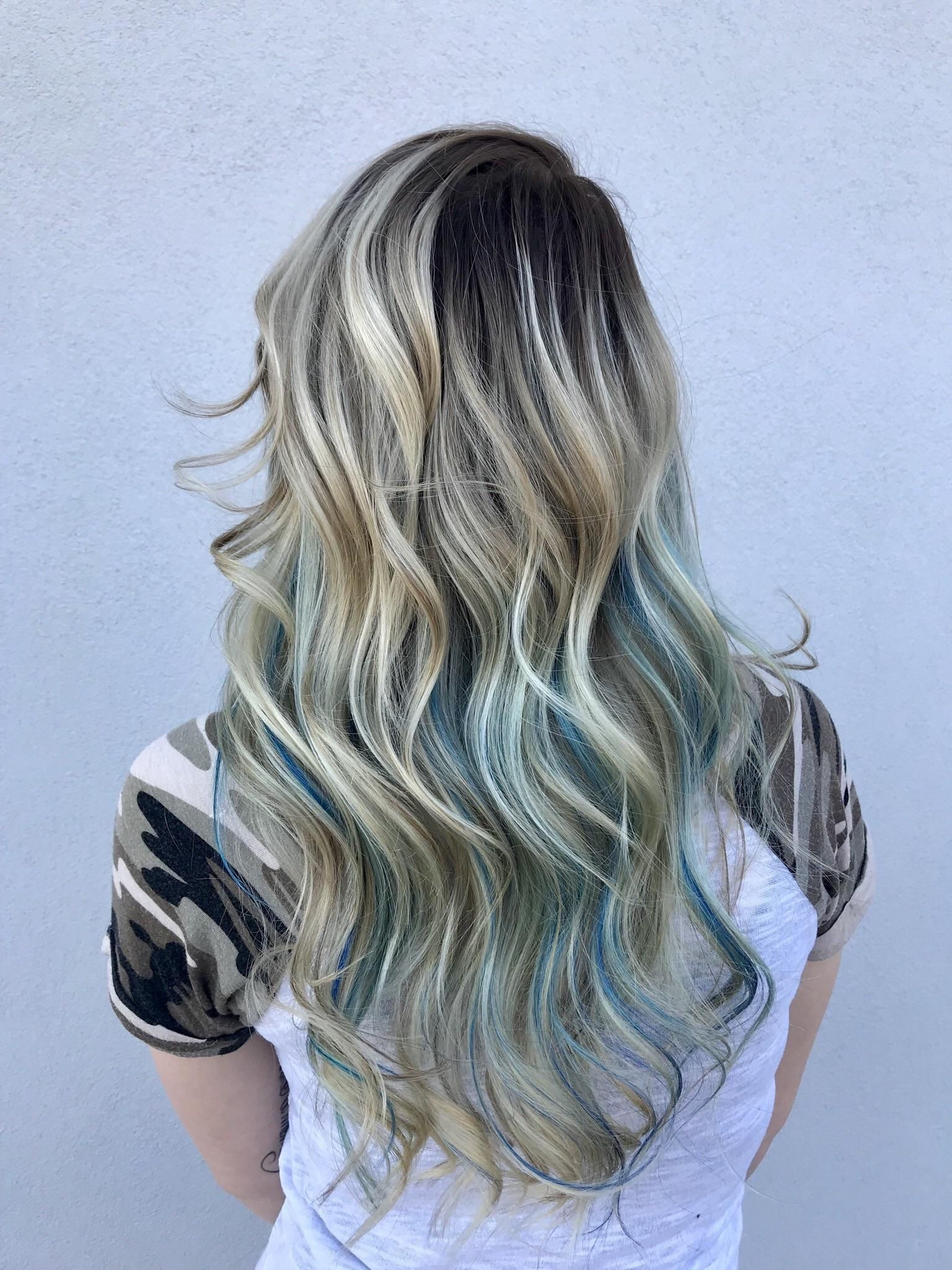 Blonde Balayage With Blue Highlights Blue Hair Highlights Blonde And Blue Hair Blonde Hair With Blue Highlights