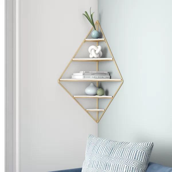 Leroy Decorative Mid Century Modern Corner Wall Shelf In 2020 Corner Wall Shelves Corner Wall Wall Shelves
