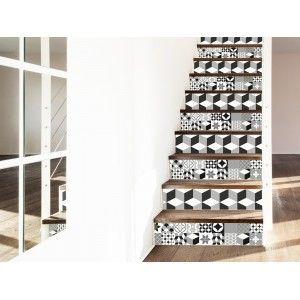 Contremarche adh sif motif carreaux de ciment salon - Escalier carreaux de ciment ...