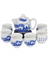 Dahlia Porcelain Landscape Painting Tea Set (Tea Pot w. Infuser + 6 Dual Layer Tea Cups) in Gift Box