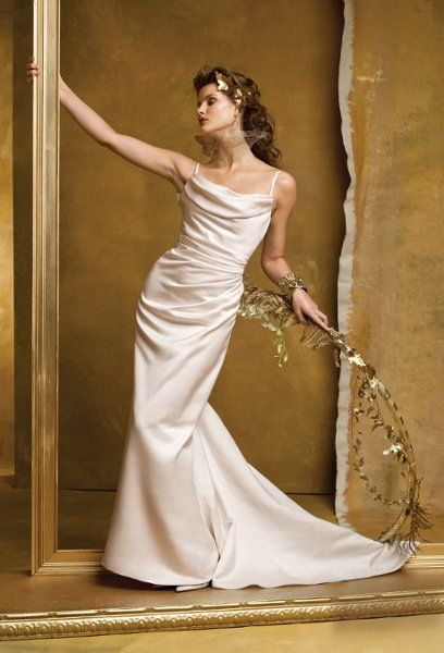 9148W Soft satin shirred wedding dress with shoulder straps, button ...
