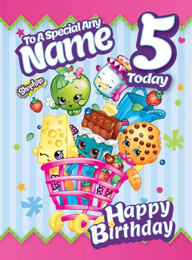Shopkins Personalised Birthday Card FREE 1ST CLASS DELIVERY – Personalised Birthday Cards Next Day Delivery