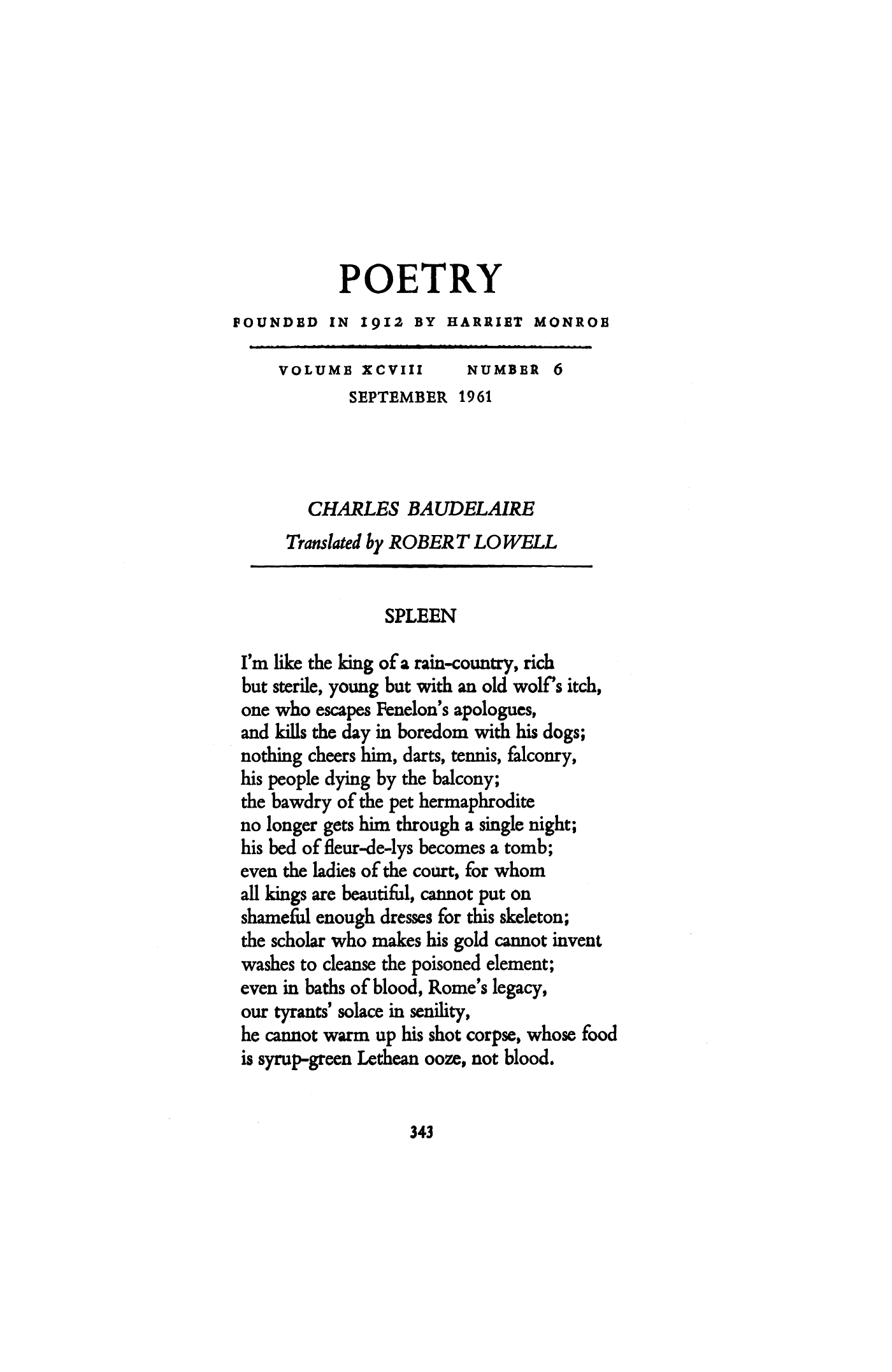 Spleen by Charles Baudelaire | The Flawed Bell by Charles ...