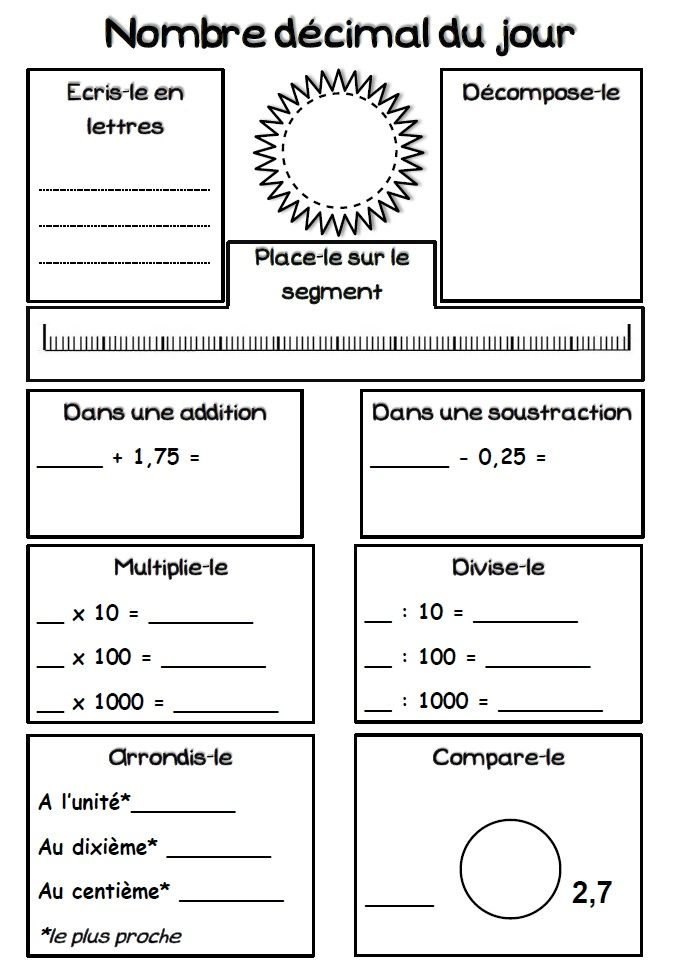 Le nombre d cimal du jour rituel math cycling and school - Synonyme de construire ...