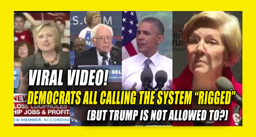 """This video is proof Democrats and liberal journalists are the most ridiculous hypocrites ever. Watch as Hillary, Obama, Bernie, and Elizabeth Warren and friends all call the system """"Rigged."""" Yet when TRUMP calls the system rigged, they unleash their mainstream media hoard to call Trump """"dangerous,"""" """"careless"""" and """"inciting violence."""" The leftist DC elites on always believe there is one set of rules for them, another set for everyone else. Watch the video and please SHARE to expose the…"""