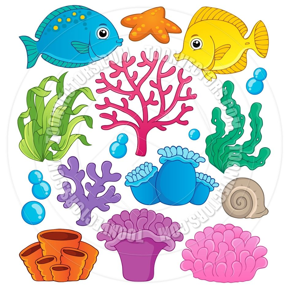 coral reef theme collection 1 vector illustration decorating the