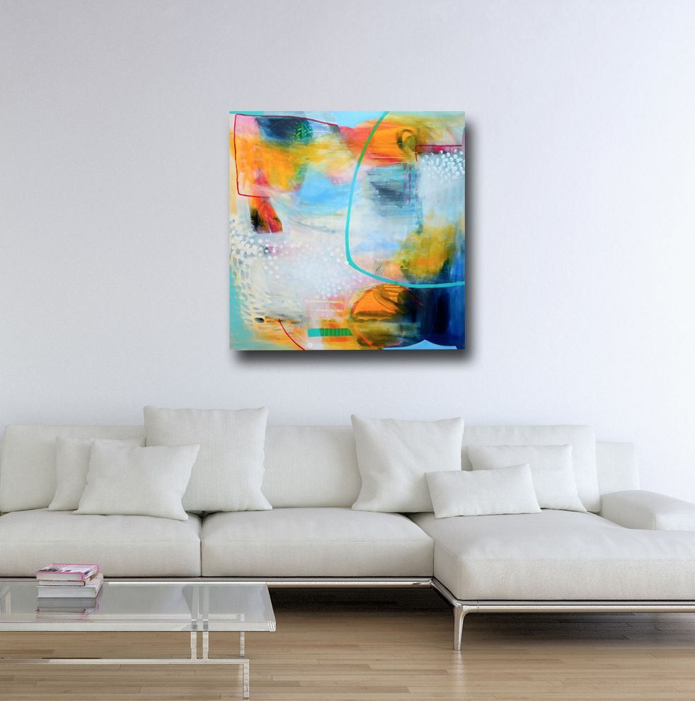 Large blue yellow abstract print giclee print wall art canvas print from painting expressive canvas art blue yellow grey white abstract print abstract
