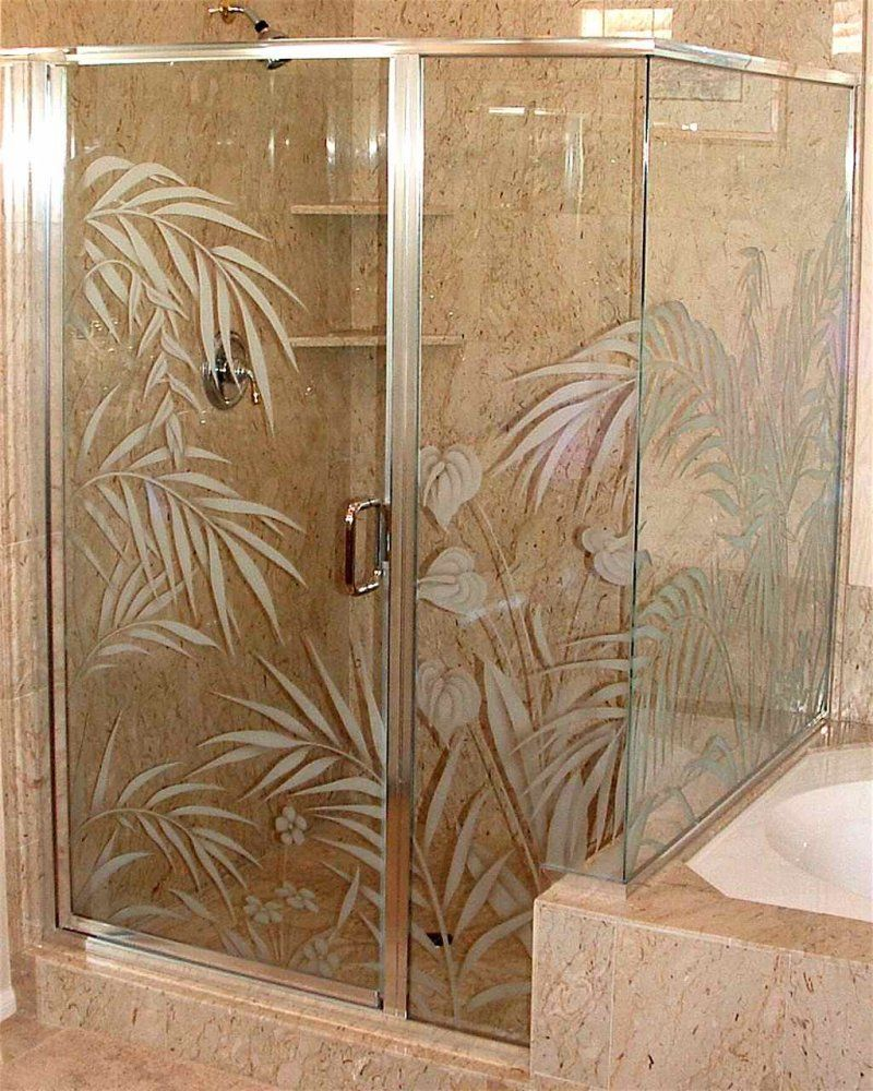Etched glass shower door enclosure ferns anthurium design etched glass shower door enclosure ferns anthurium eventelaan Image collections