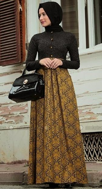 Gamis Batik Kombinasi Busana Muslim Pinterest Kebaya