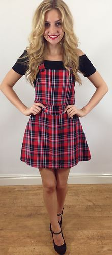 5664ab9d38e4a Details about WOMENS LADIES PARTY/CASUAL TARTAN PINAFORE STYLE ...