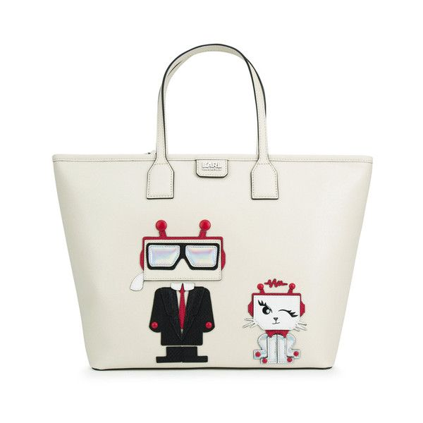 Karl Lagerfeld Women's K/Robot Shopper Karl & Choupette Bag ($330) ❤ liked on Polyvore featuring bags, handbags, tote bags, shopping tote, white leather purse, white leather tote, leather tote and purse tote
