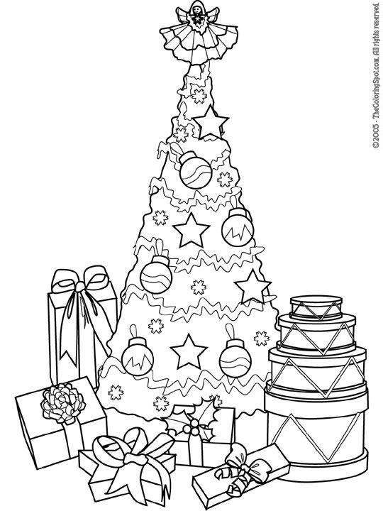 christmas coloring pages printable  Christmas Tree  Gifts  Free