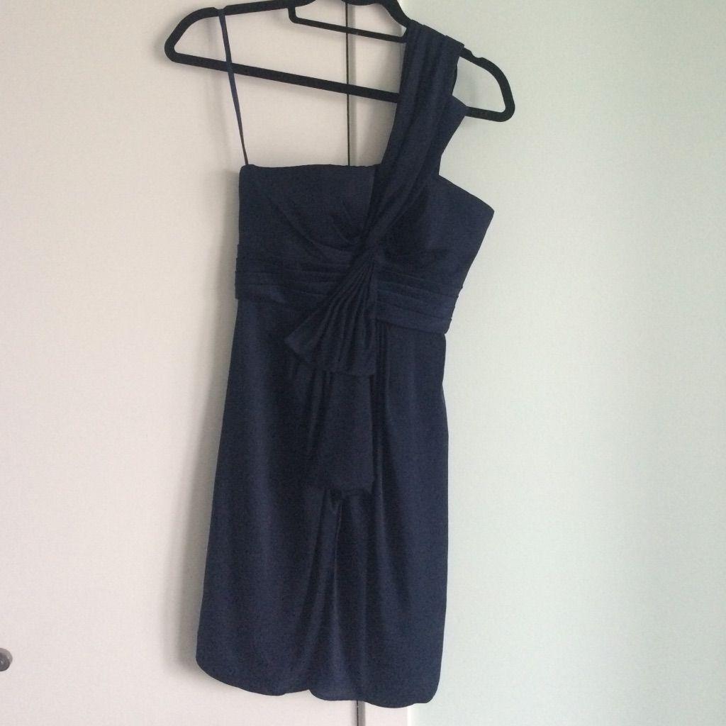 Bcbg One Shoulder Navy Blue Cocktail Dress