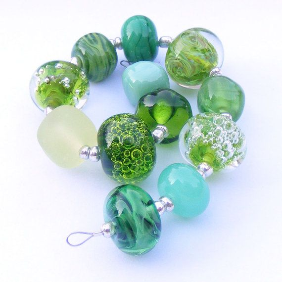 handmade lampwork glass bead set of 12 various green and lime green renegade beads lampwork. Black Bedroom Furniture Sets. Home Design Ideas