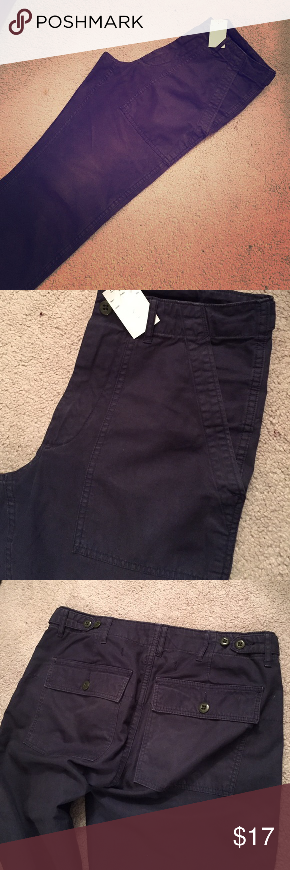 J. Crew utility pants New with tags. Navy blue. Size 30w 30L. Straight leg. Button tab detail at sides or waistband. J. Crew Pants Straight Leg