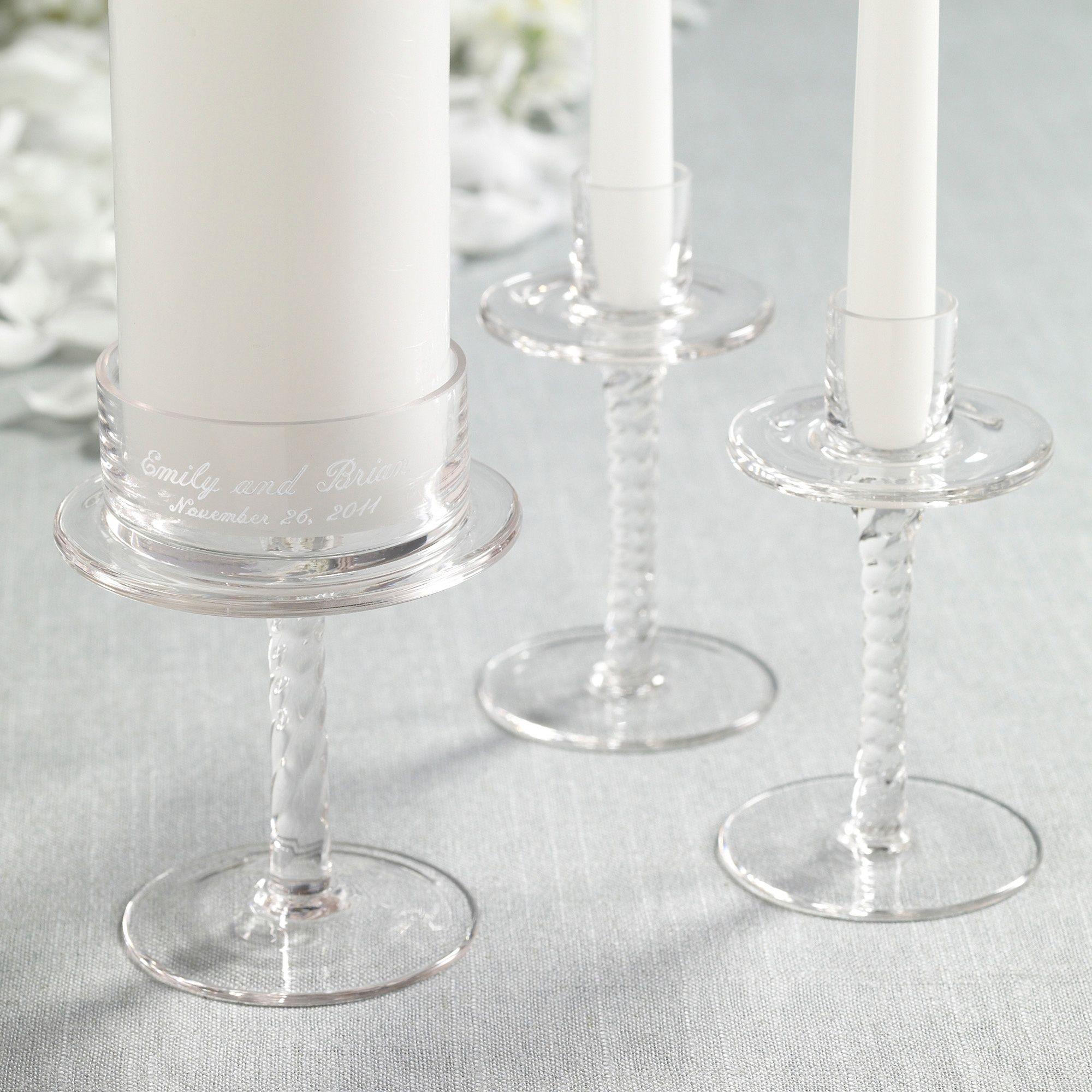 Personalized Glass Wedding Unity Candle Holders | #exclusivelyweddings