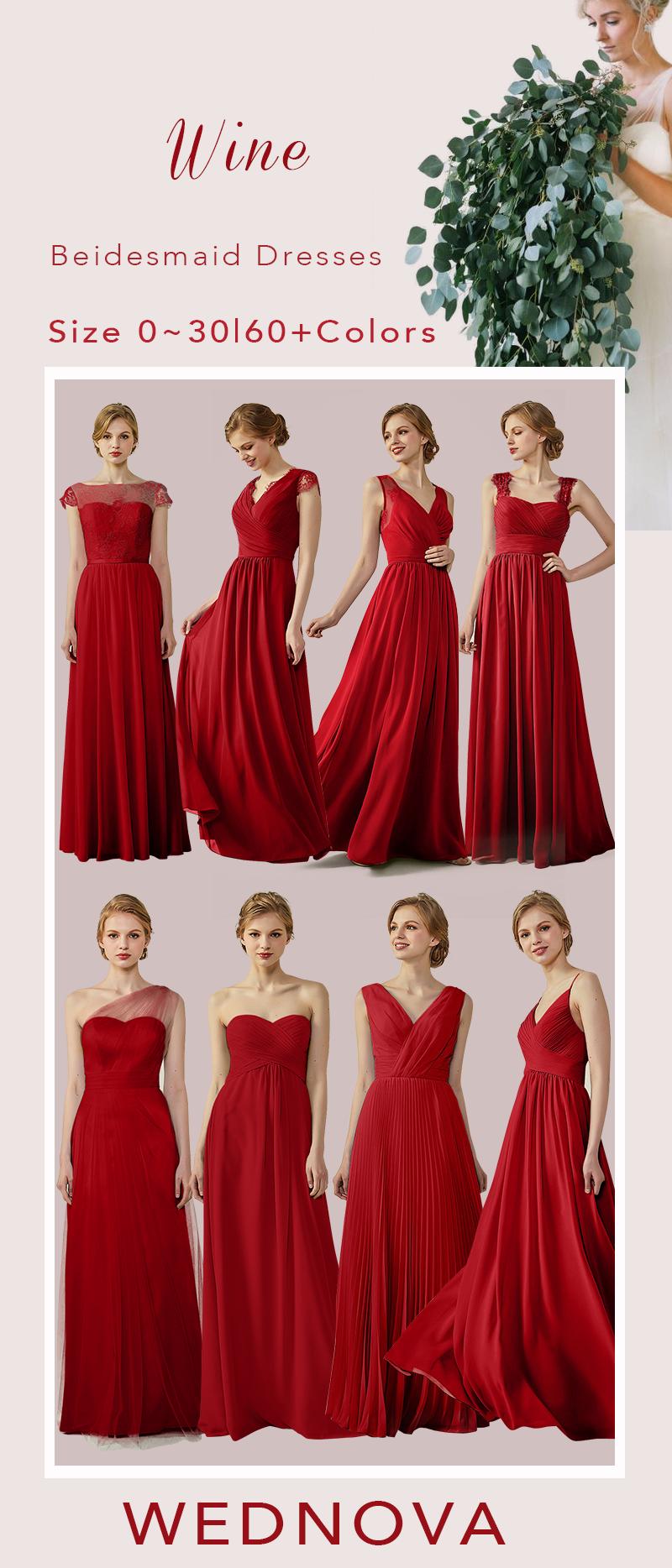 Fall color bridesmaid dresses chiffon a line dresswith lace v neck