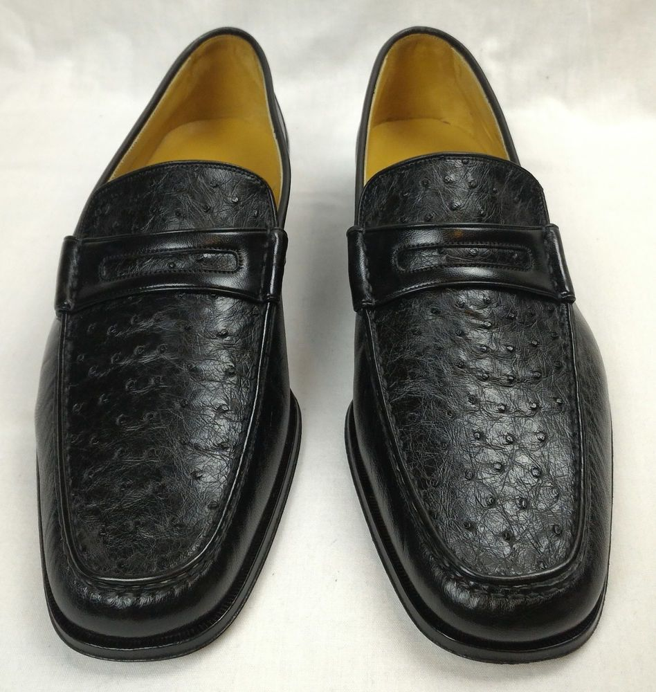 348f15ba9591 100% Authentic BALLY Ostrich Leather Shoes Loafers Size 9.5 Switzerland NEW   Bally  LoafersShoes