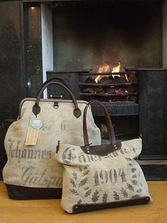 TAMARA FOGLE bags (crafted in the UK from reclaimed antique flour sacks from Germany - some dating from 1830!)