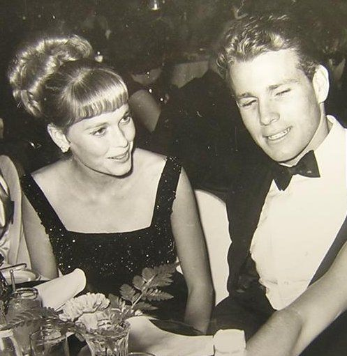 "THE EARLY DAYS - Mia Farrow & Ryan O'Neal, stars of the ABC-TV series, ""Peyton Place"", enjoy enjoy a night on the town."