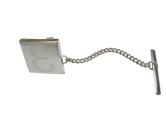 47c2ee4c606e Silver Toned Etched Greek Letter Epsilon Tie Tack | Products | Tie ...