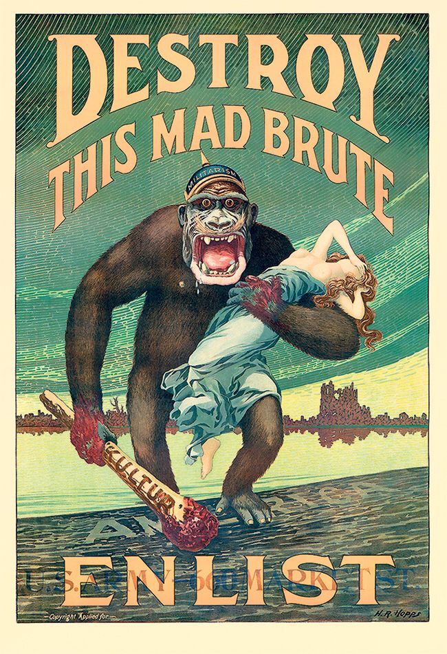 Destroy This Mad Brute WWi US Military Vintage Poster