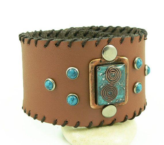 Orgone Energy Bracelet - Leather Cuff Bracelet - Turquoise Gemstone - Unisex Bracelet - Artisan Jewelry
