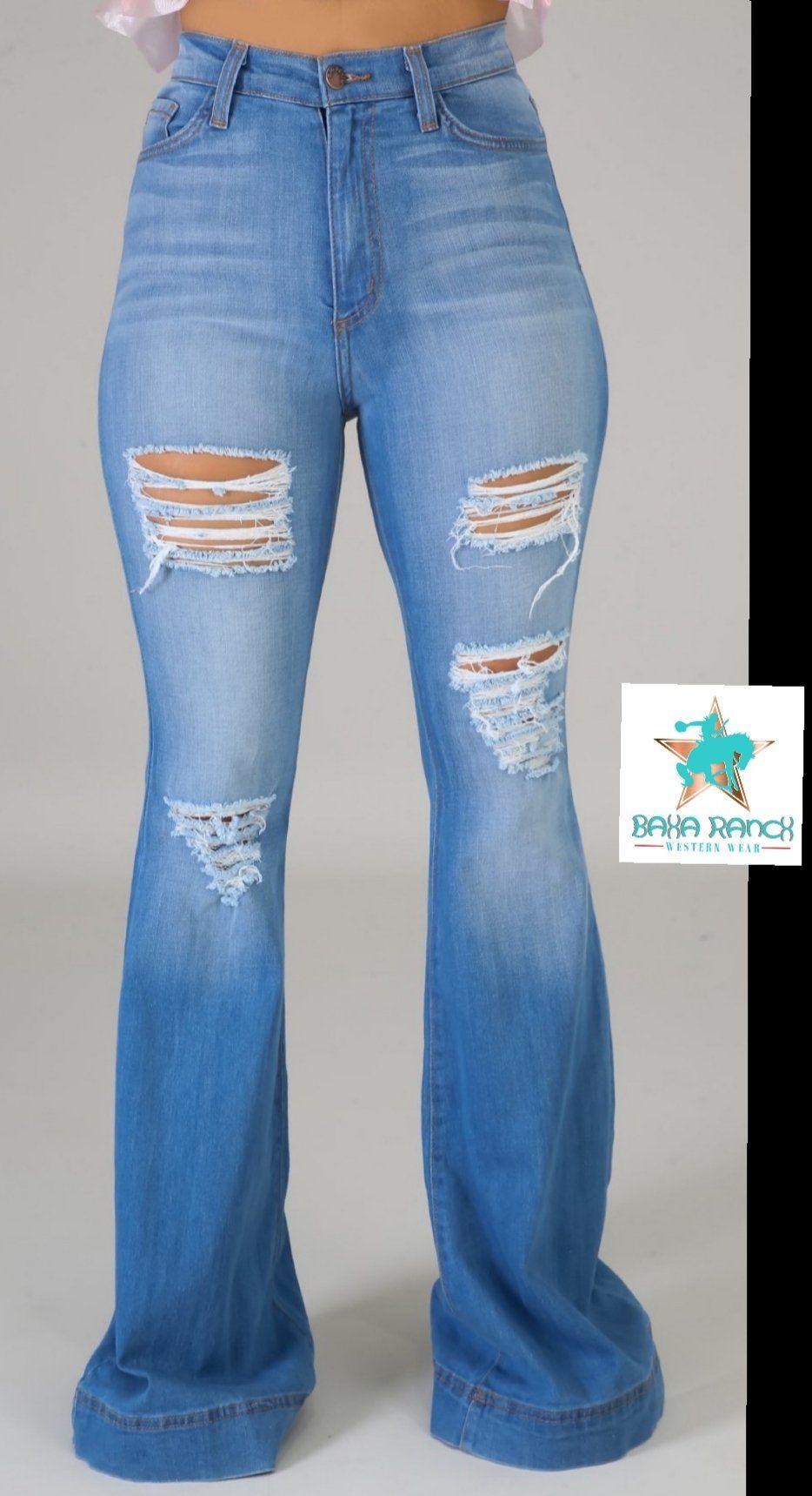 ACKKIA Womens Mid Rise Ripped Stretch Bell Bottom Wid Leg Flare Denim Jean Pant