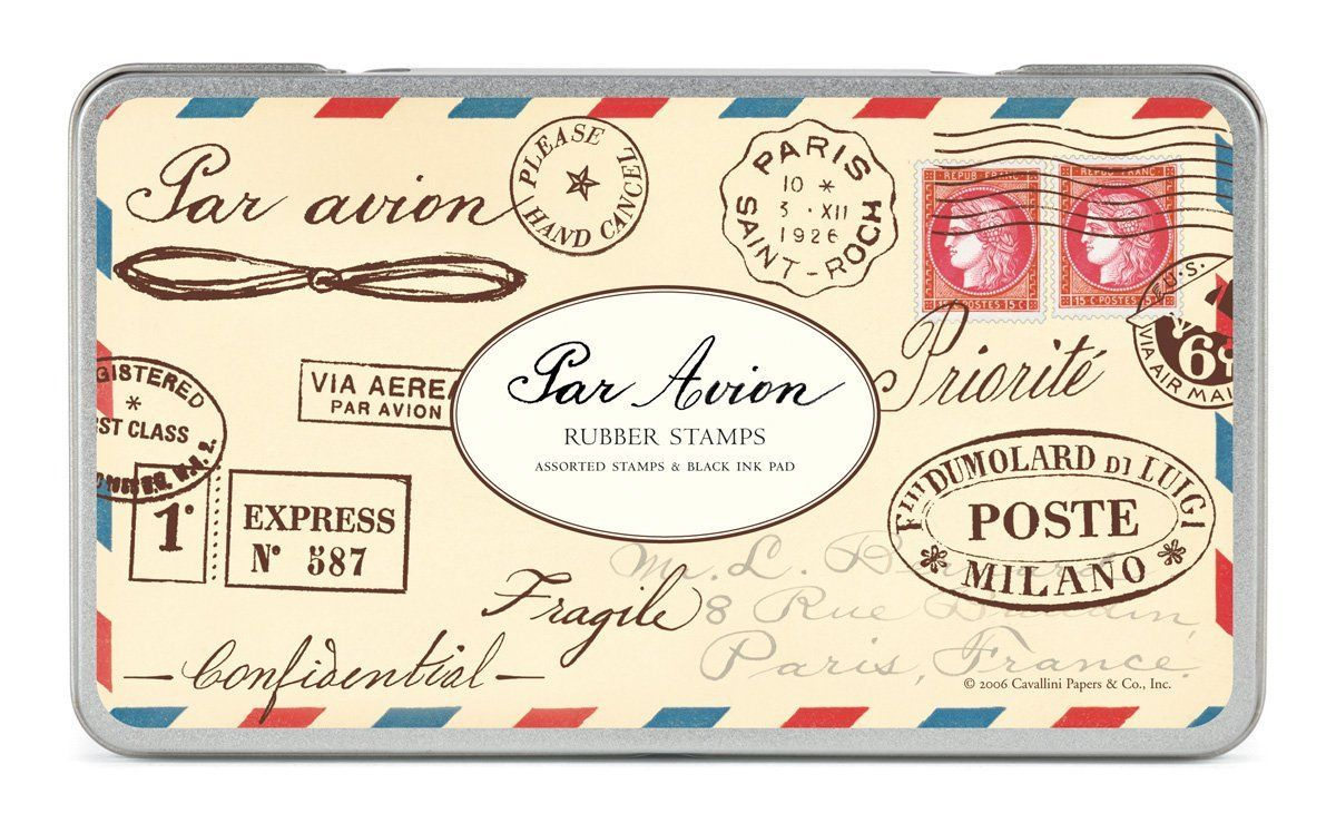 Rubber Stamps Par Avion, Assorted with Ink Pad - some of these could ...