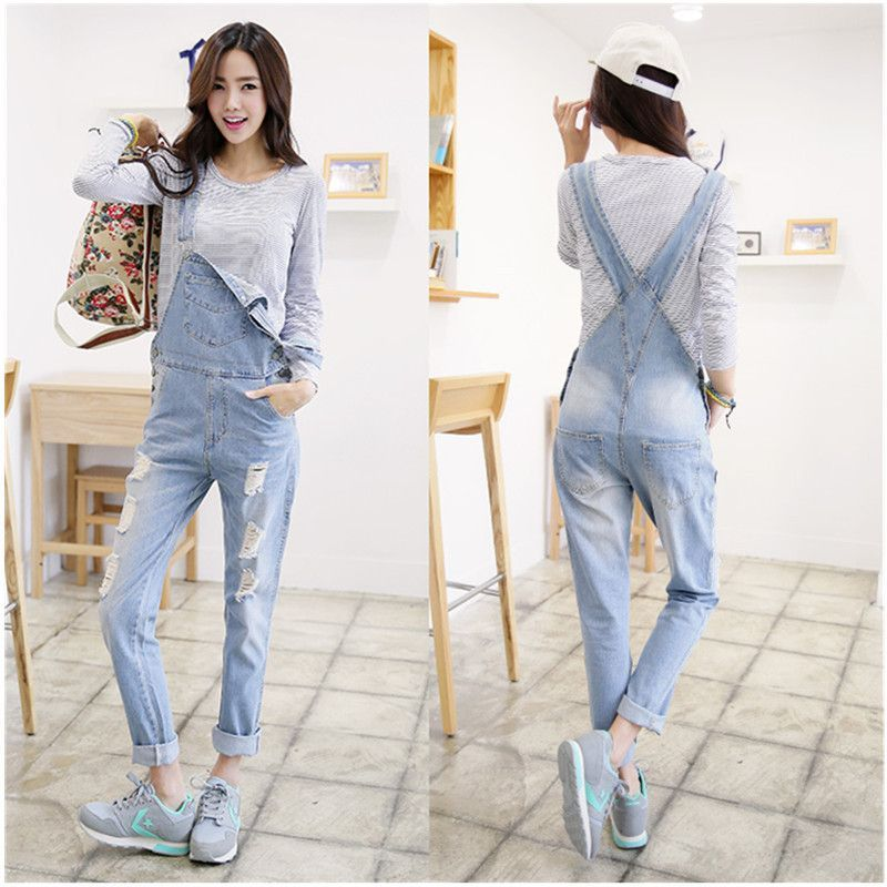 eb132b74622c 2016 New Free shipping Plus size Korean New Womens Jumpsuit Denim Overalls  Casual Skinny Girls Pants Jeans