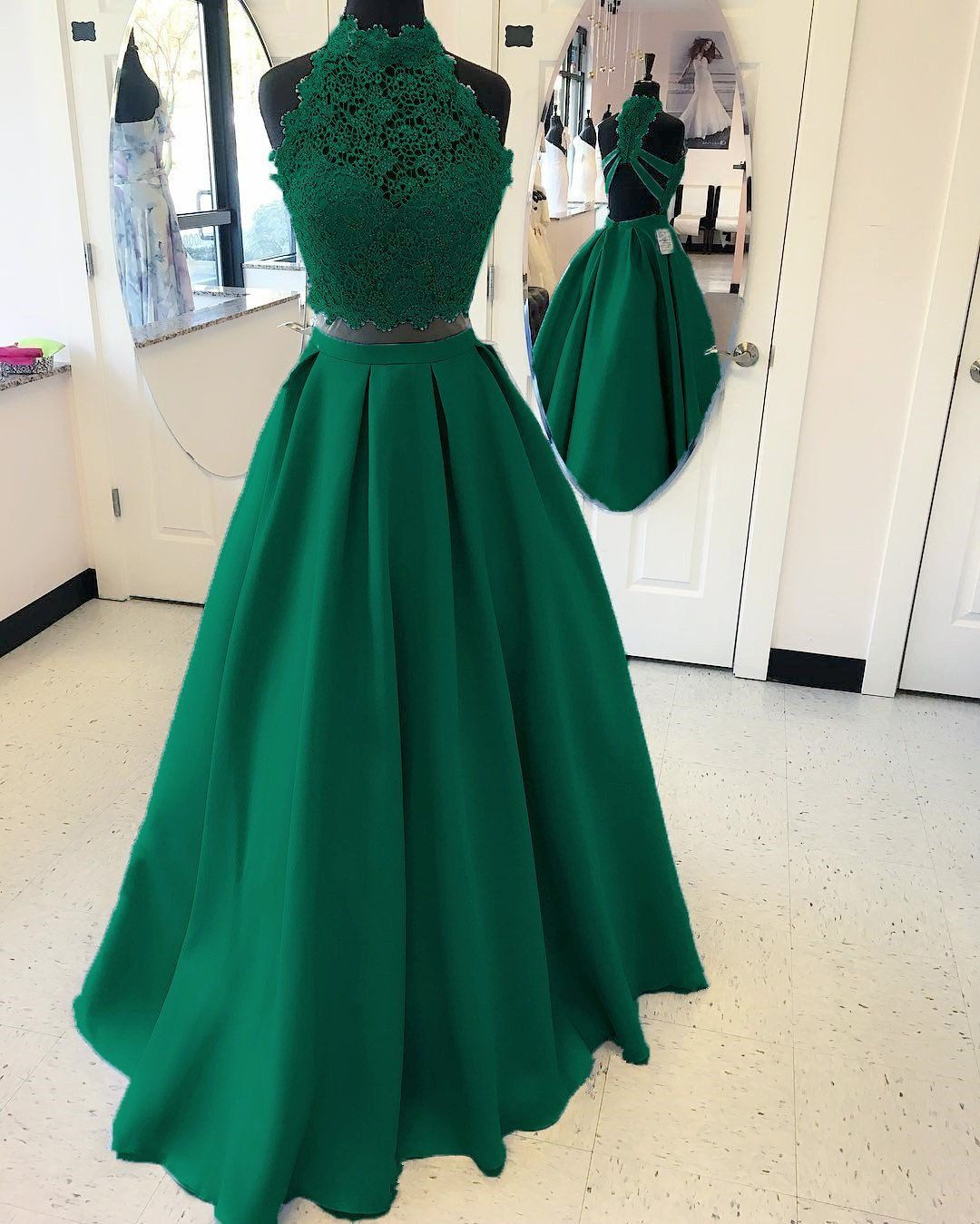 A-line High Neck Open Back Satin Prom Dresses Two Piece 2