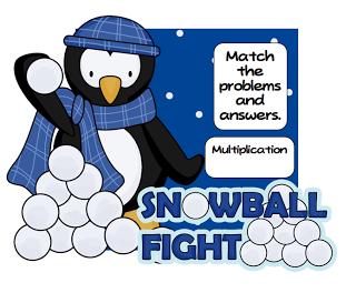 Pitner's Potpourri: Multiplication Snowball Fight! -- Freebie!!!