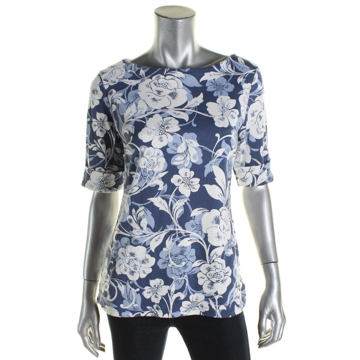 Karen Scott Womens Floral Print Elbow Sleeves Casual Top